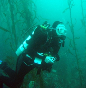 Gillian SCUBA diving in Monterey
