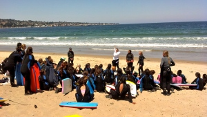 Lifeguards explaining some water safety ideas before we head into the water