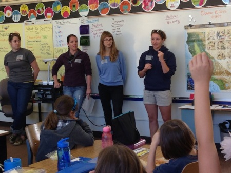 Sara Worden, Heather Kramp, Dorota Szuta, and Diane Wyse lead a classroom safety briefing and intertidal lesson. Photo: Erika McPhee-Shaw (2013)